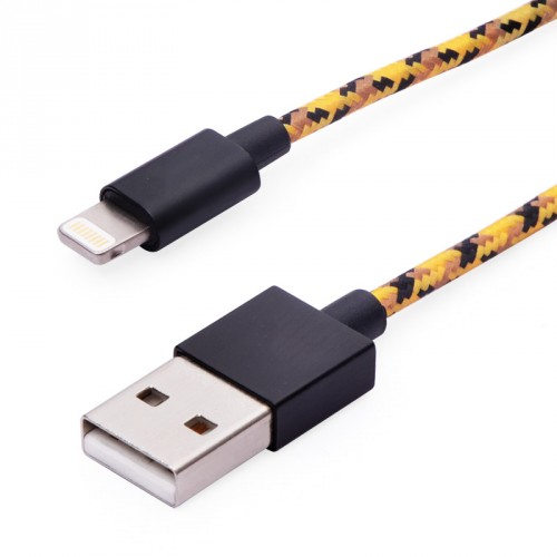 Lighting Charge and Sync Cable Fabric Braiding Yellow Color