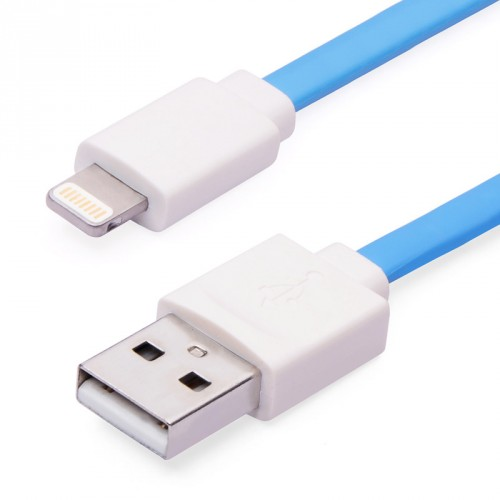 Flat Lighting Charge and Sync Cable Blue Color