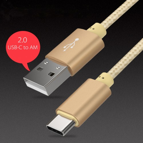 USB-C to USB-A Cable for Power and Data Gold Color