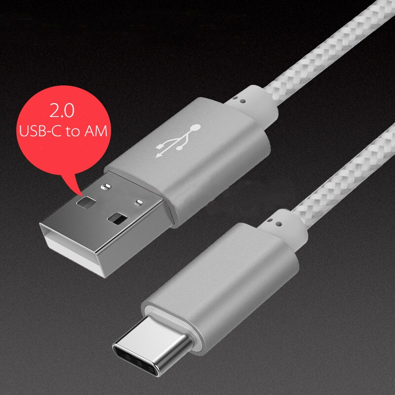 USB Type-C to Type-A Cable Sliver Color for  LG, HTC, Huawei, and even Samsung