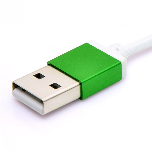 Micro USB 2.0 Charge and Sync Cable Fabric Braiding White Color