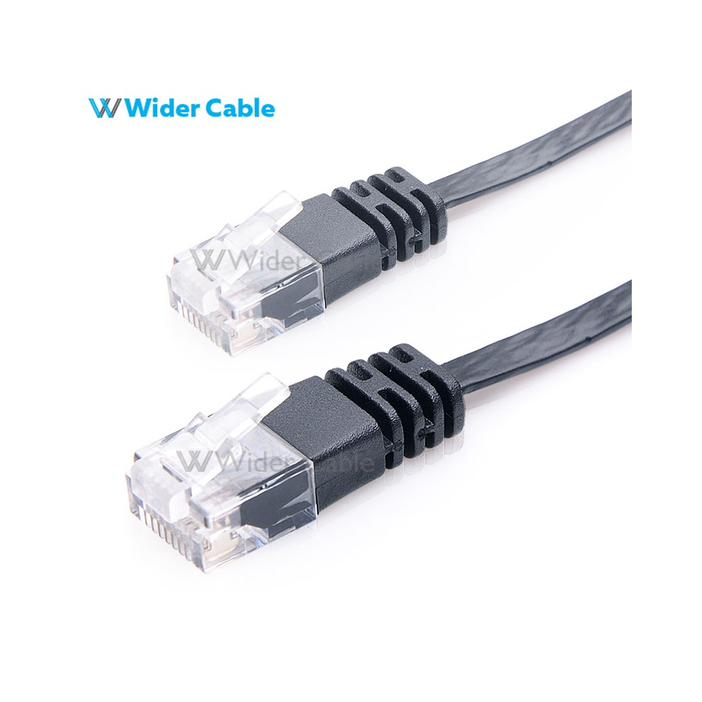 Cat6 Flat Ethernet Network Patch Cable Green Wiring Super Black Color Wholesales