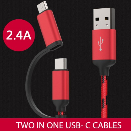 High Quality 2 in 1 USB-C Cable Micro USB Cable Red Color