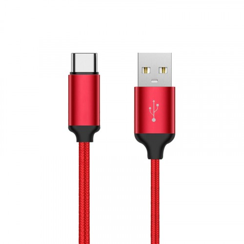 New USB-C Cable USB Type-C Cable 3FT(1M) Nylon Braided Red Color