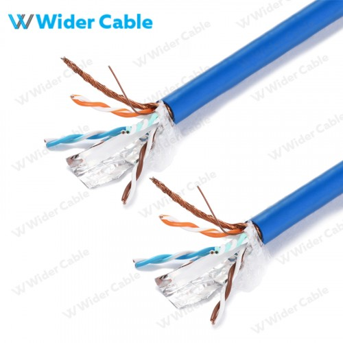 High Quality CAT.6 SFTP Bulk Cable Bare Copper Braided Blue Color