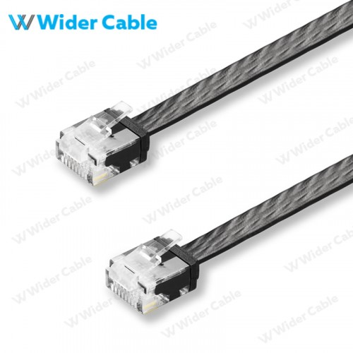 Snagless Flat CAT6 UTP 250MHz Bare Copper Ethernet Network Patch Cable Black Color