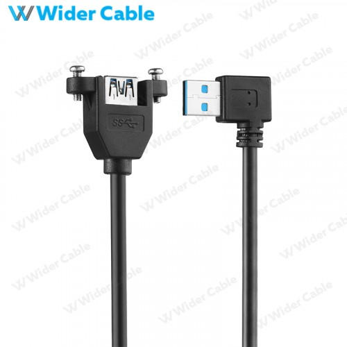USB 3.0 A Male To A Female Cable Black Color With Lock Screw